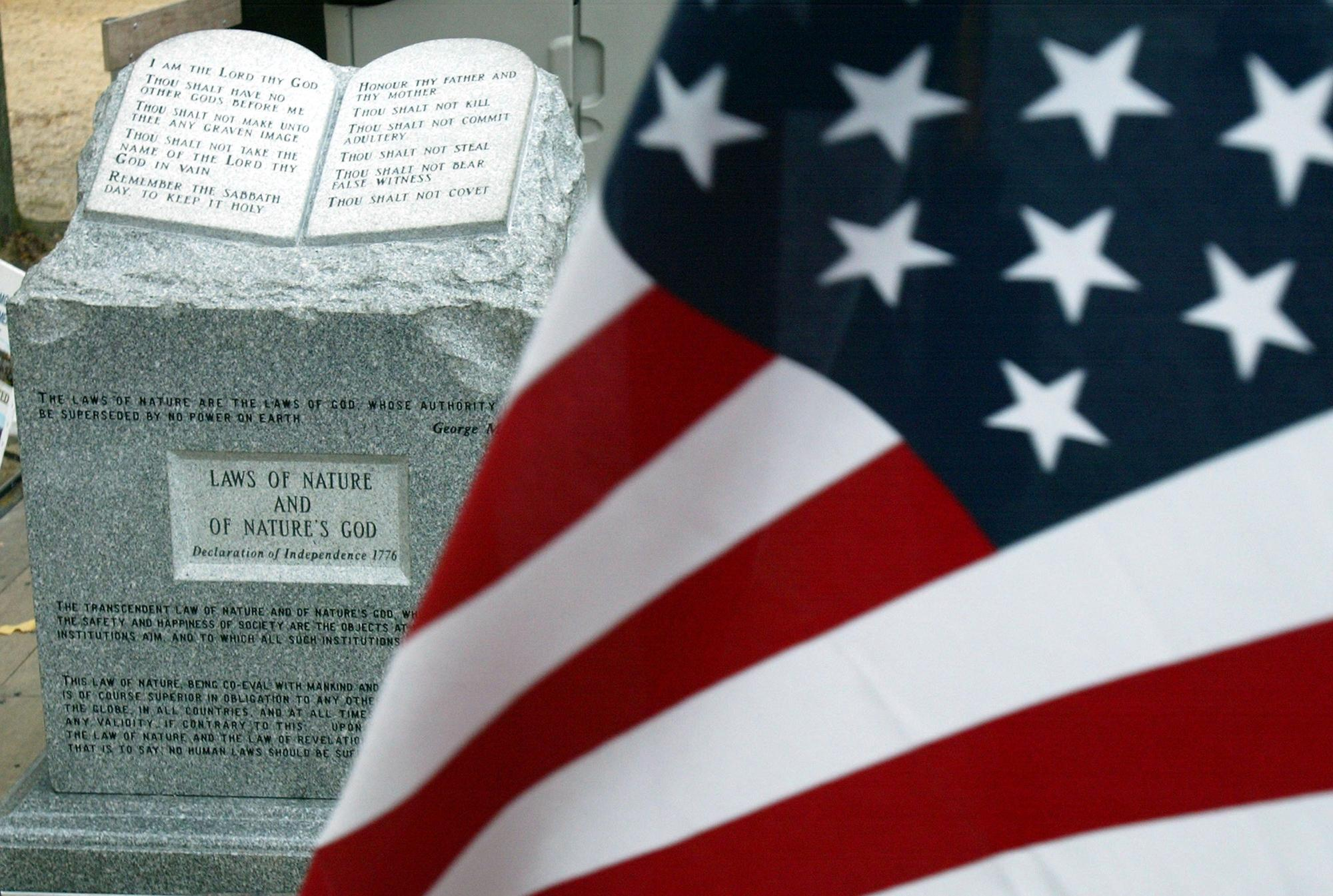 The Ten Commandments monument that was removed from the Alabama Judicial Building