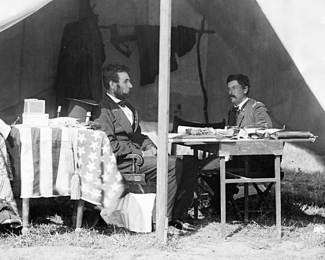President Lincoln and General George B. McClellan in the general's tent near the Antietam battlefield on Oct. 3, 1862