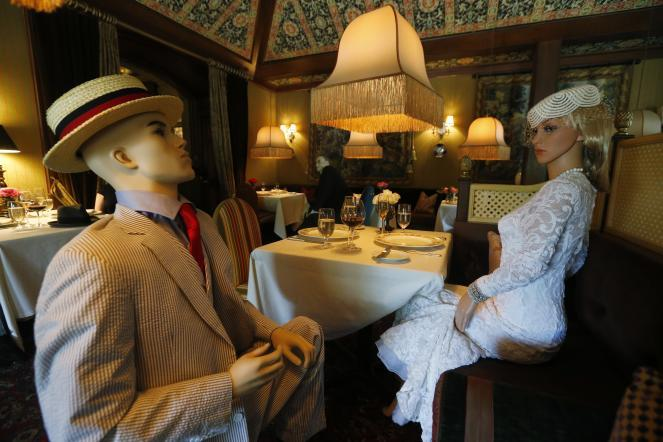Mannequins provide social distancing at the Inn at Little Washington in Washington, Va.