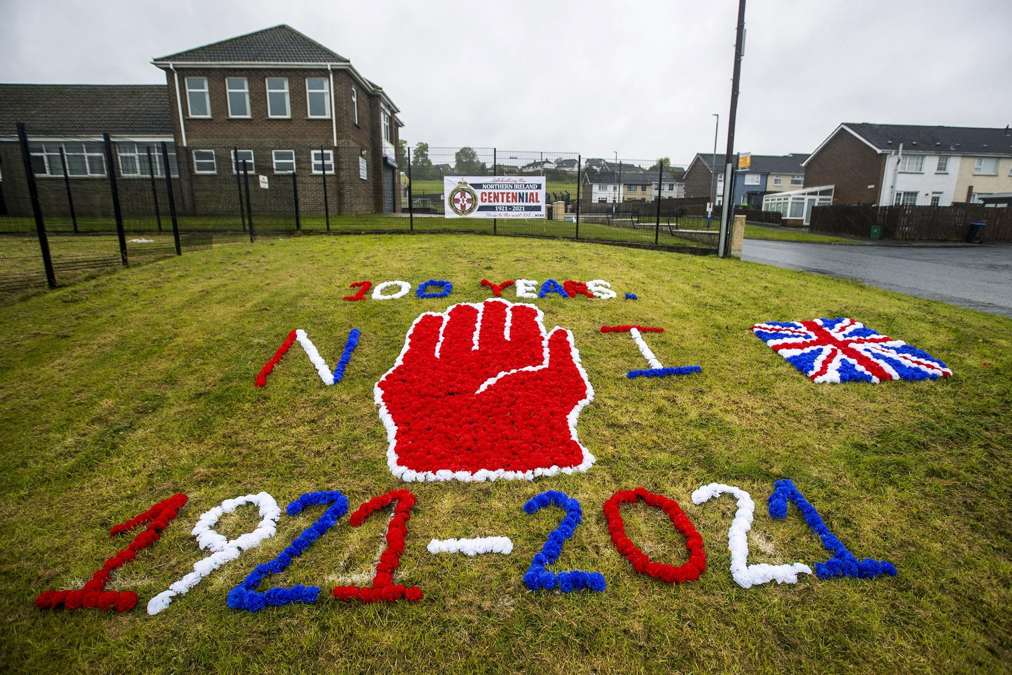An anniversary display in Newtownabbey, Northern Ireland