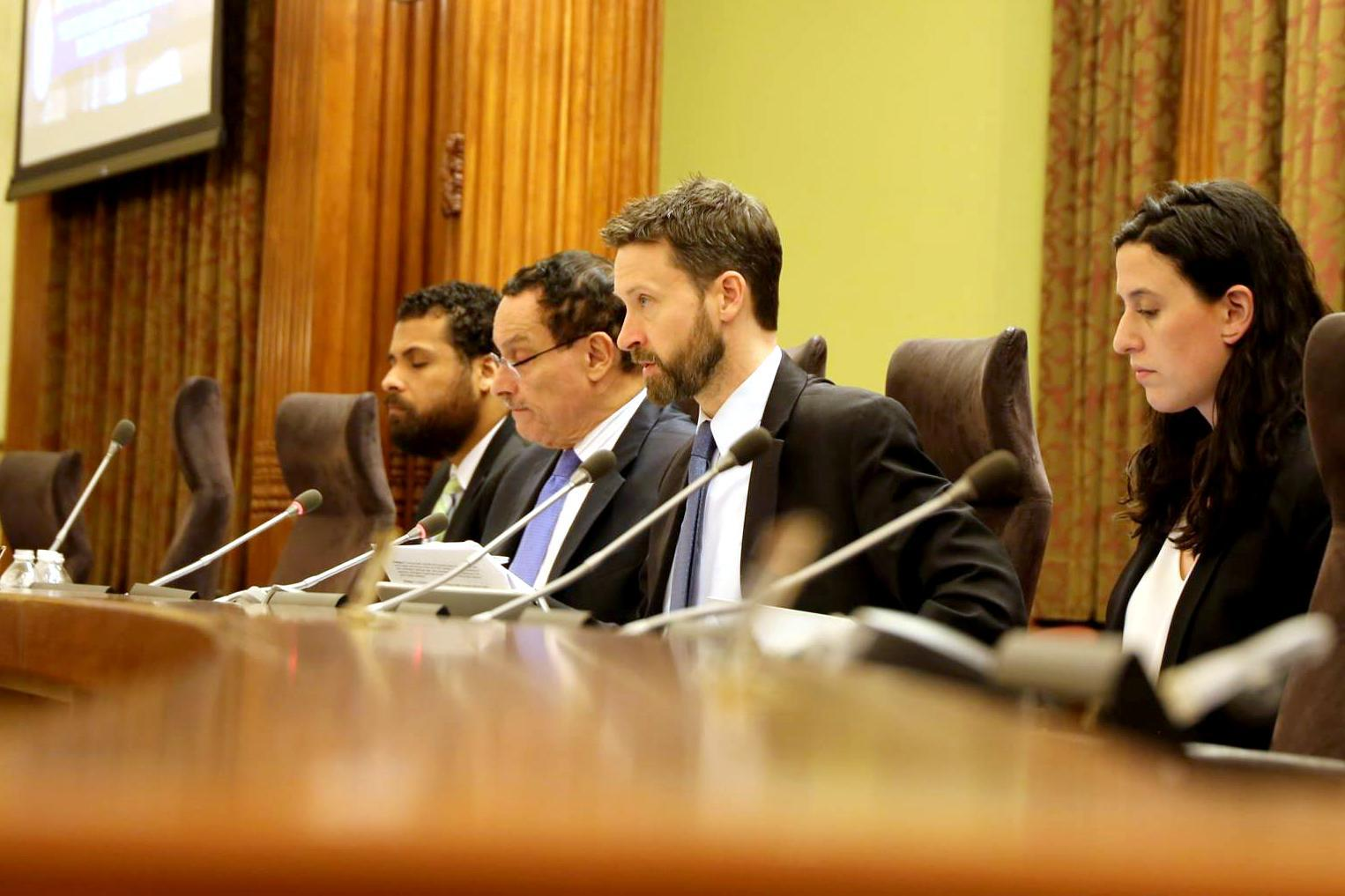 Washington, D.C., Councilman Charles Allen (second from left) at a committee meeting in January