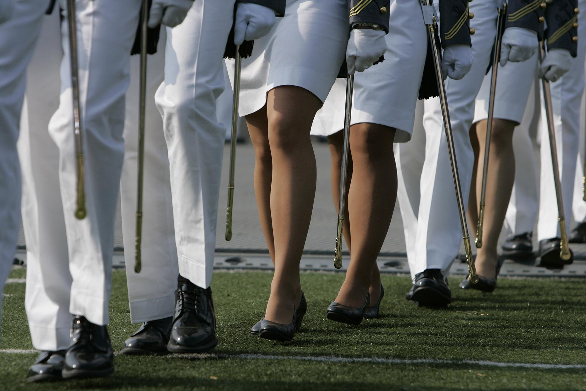 U.S. Military Academy cadets march into Michie Stadium for graduation in West Point, N.Y.