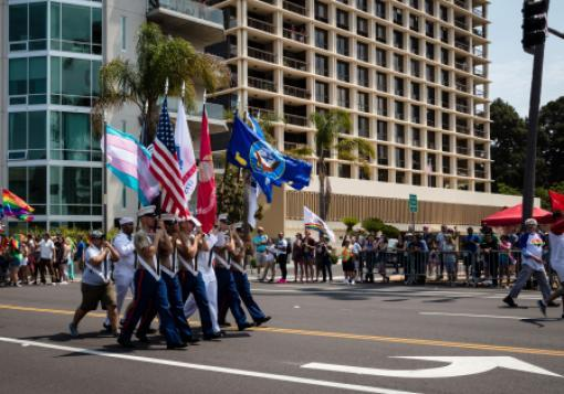 Members of the military in an LGBT pride parade in July in San Diego