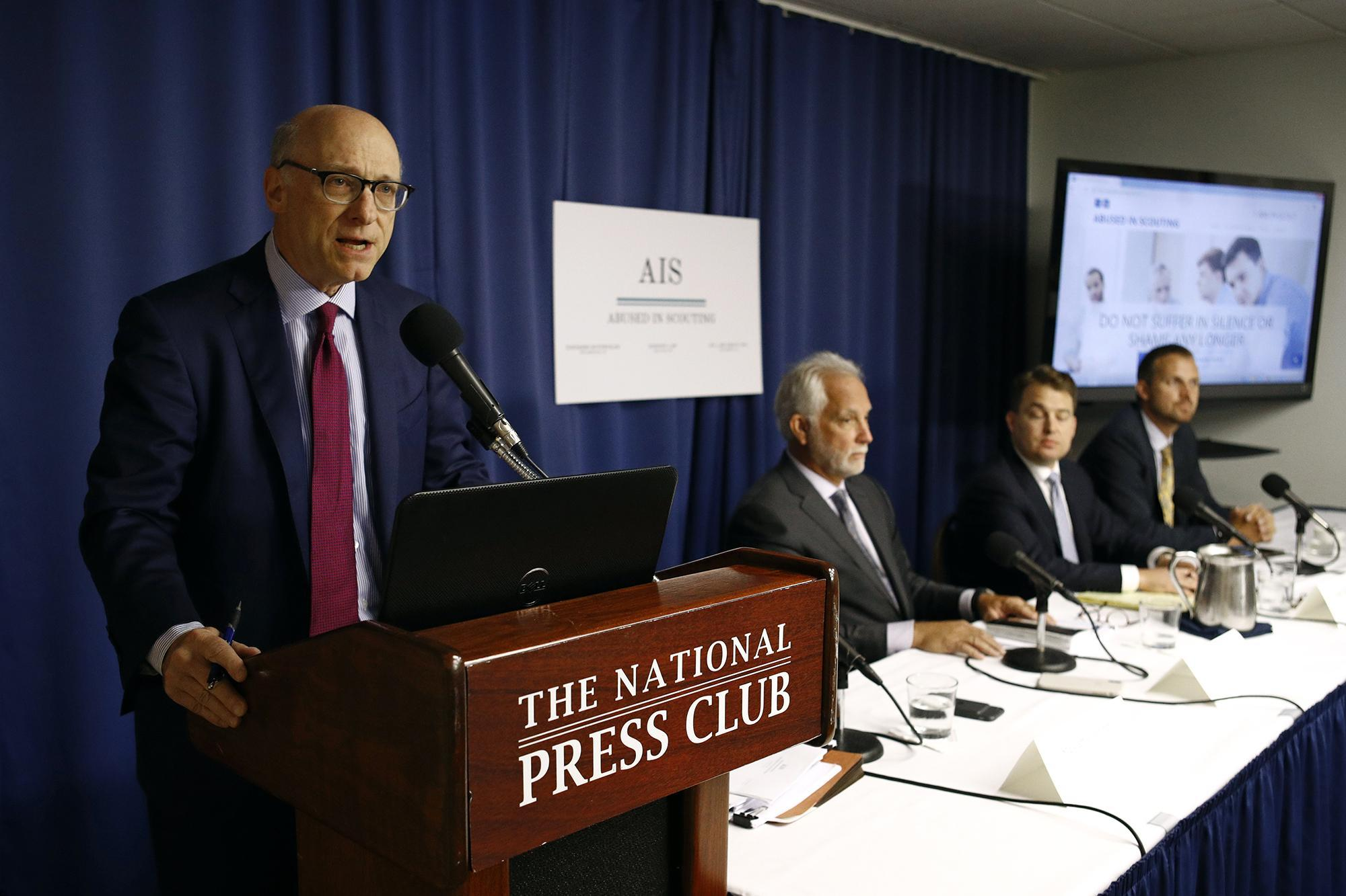 Representatives of Abused in Scouting hold a news conference Tuesday in Washington, D.C.