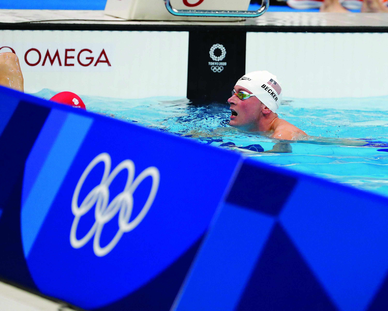 Becker in the men's 4x100 freestyle relay heats