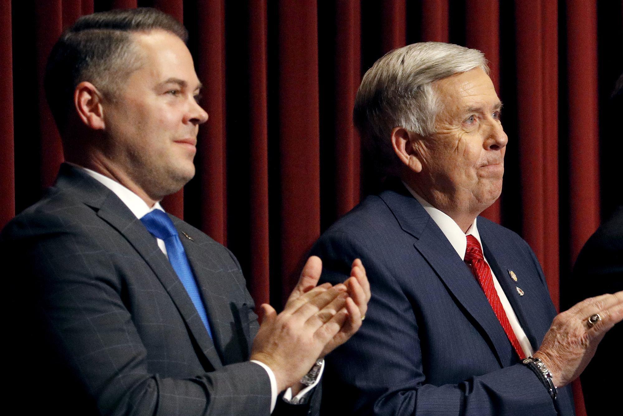 Missouri Gov. Mike Parson (right) with House Speaker Elijah Haahr