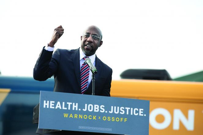 Raphael Warnock at a get-out-the-vote rally.