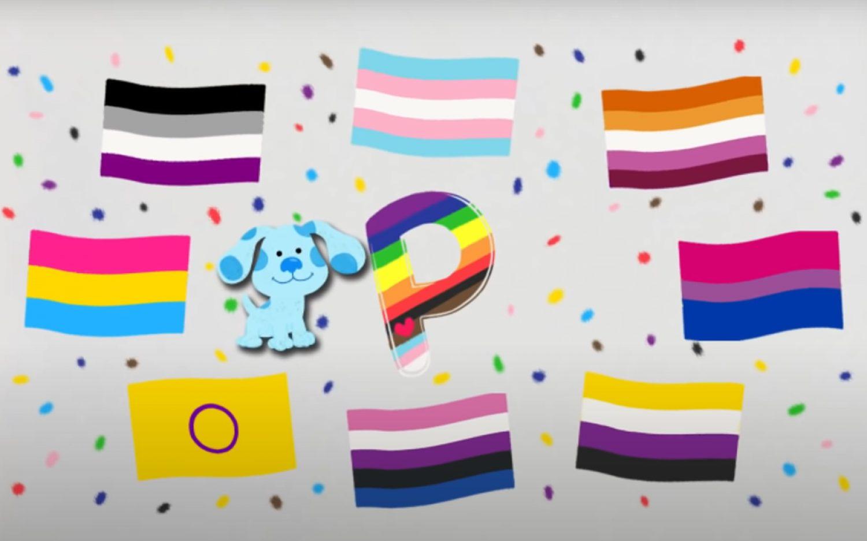 Cartoon canine waves the LGBT flag