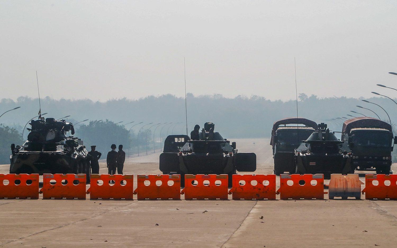 Myanmar civilians protest coup
