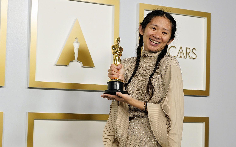 <em>Nomadland</em> wins big in socially distanced Oscars