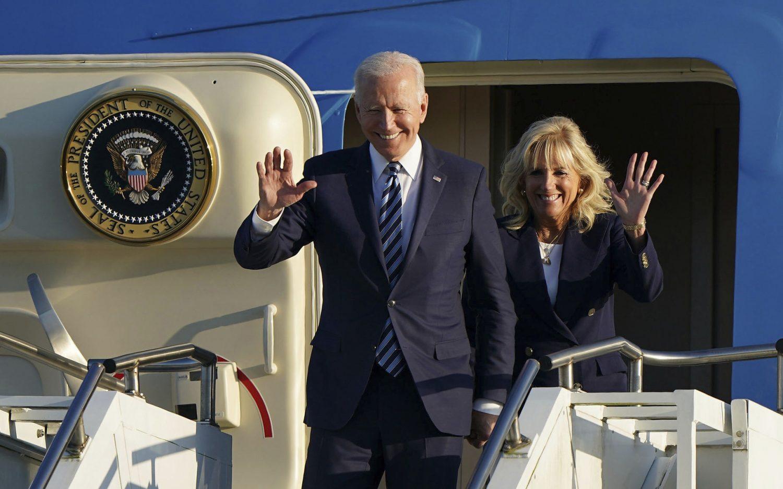 Biden leaves for first international trip