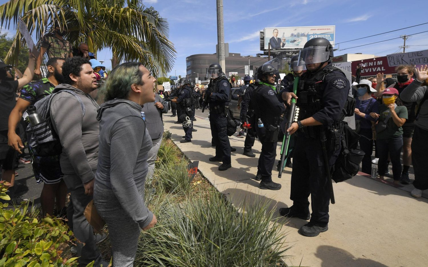In Los Angeles protests, most want peace and some want a fight