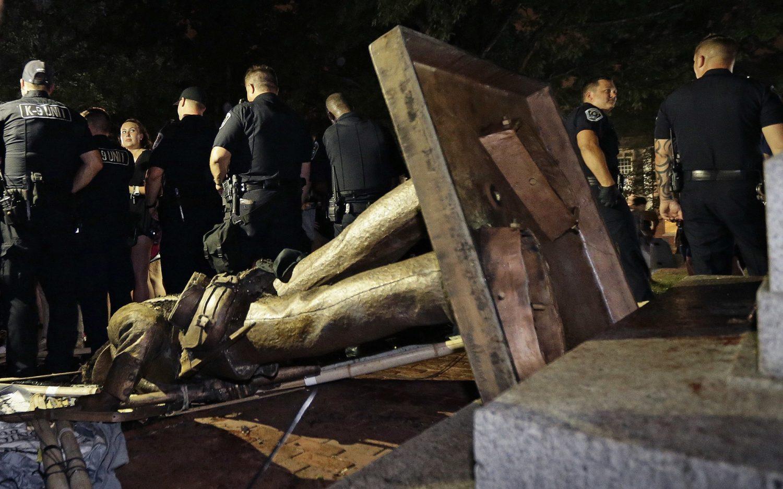 UNC protesters topple Confederate statue