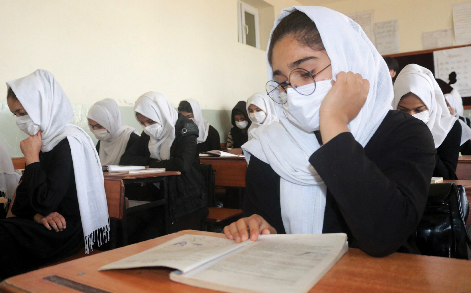 Students attend a class at a school in northern Afghanistan.
