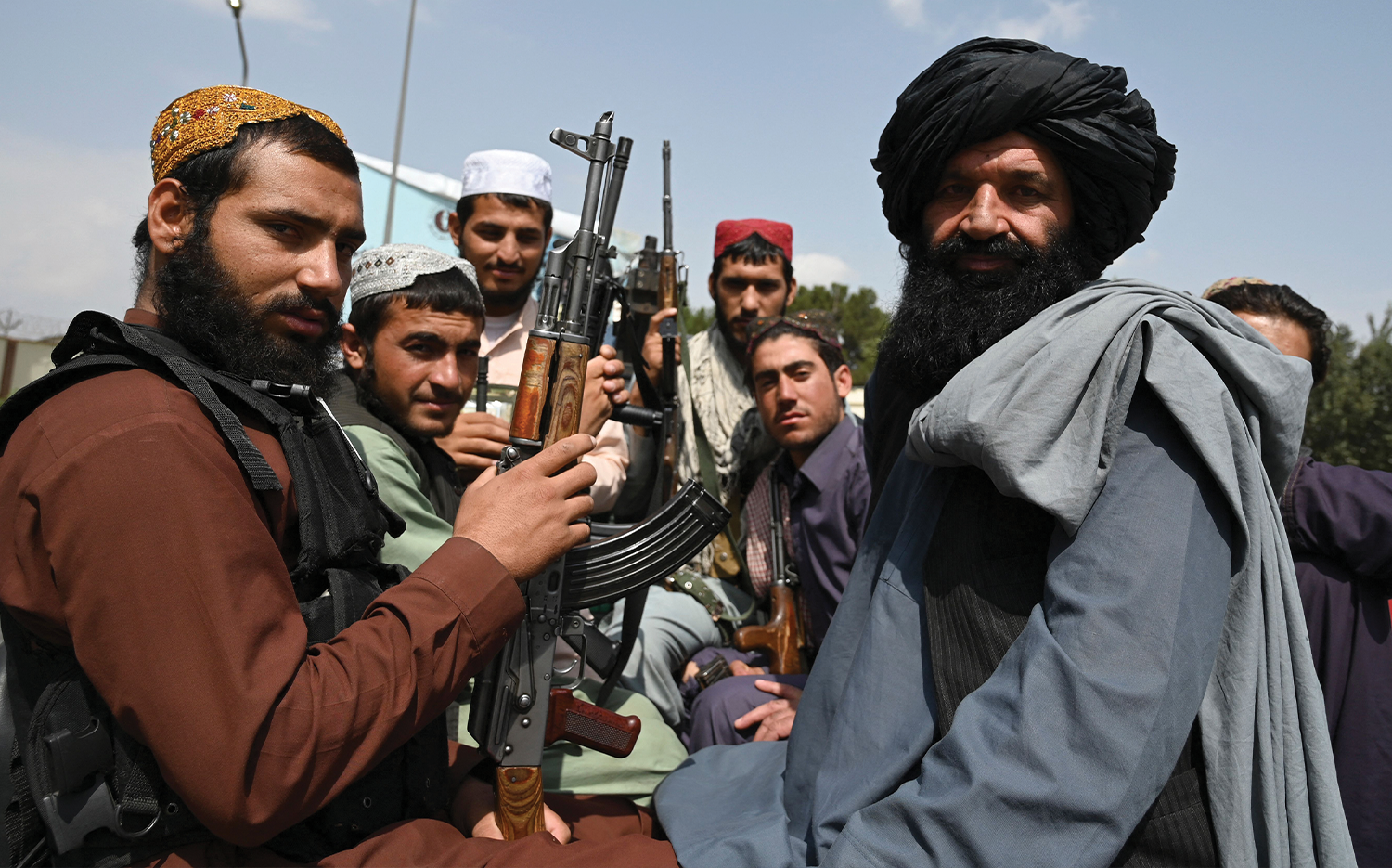 Taliban fighters on patrol at the Kabul airport