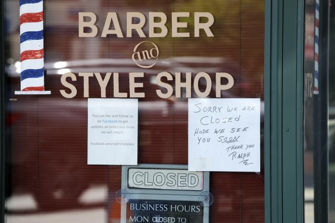 A barber shop remains closed because of the coronavirus outbreak in Seattle.