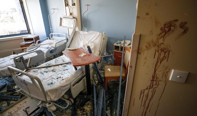 A damaged hospital room.
