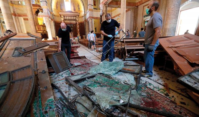 Destruction inside the Saint George Maronite Church.
