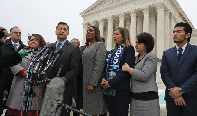 Becerra speaks to reporters outside the U.S. Supreme Court on Nov. 12 following arguments in a case about the Deferred Action for Childhood Arrivals program.