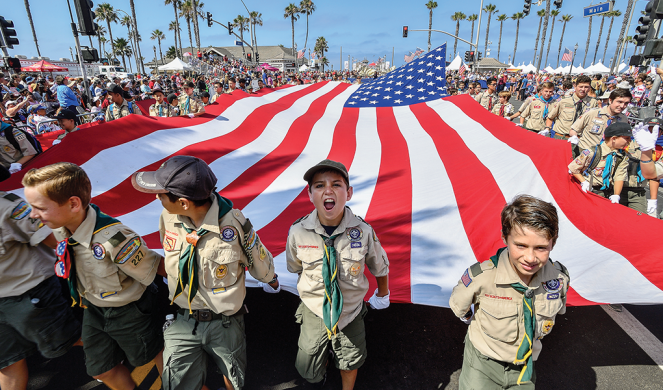 Boy Scouts in the 4th of July Parade in Huntington Beach, Calif.