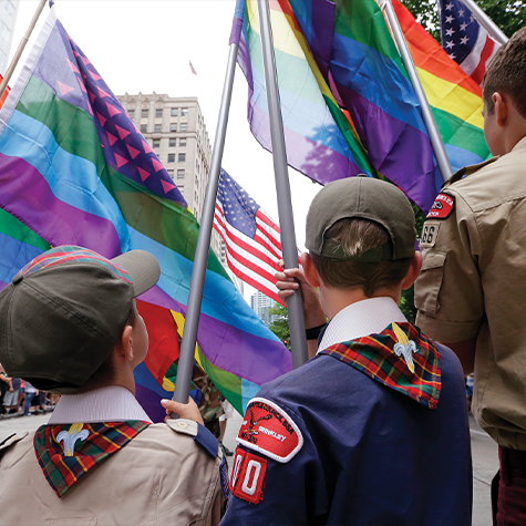 Cub Scouts and Boy Scouts march in the 41st annual Pride Parade in Seattle.