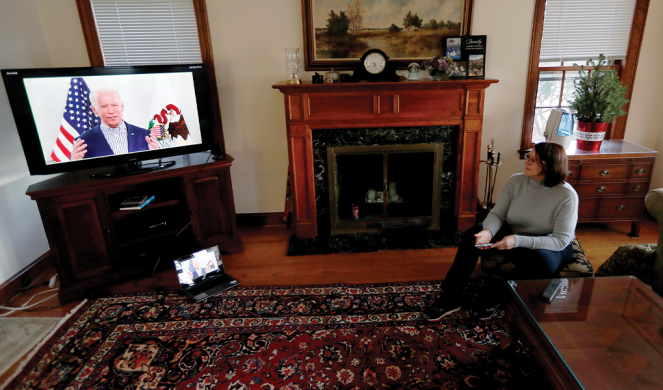 Lally Doerrer of Chicago watches Biden'sIllinois virtual town hall.
