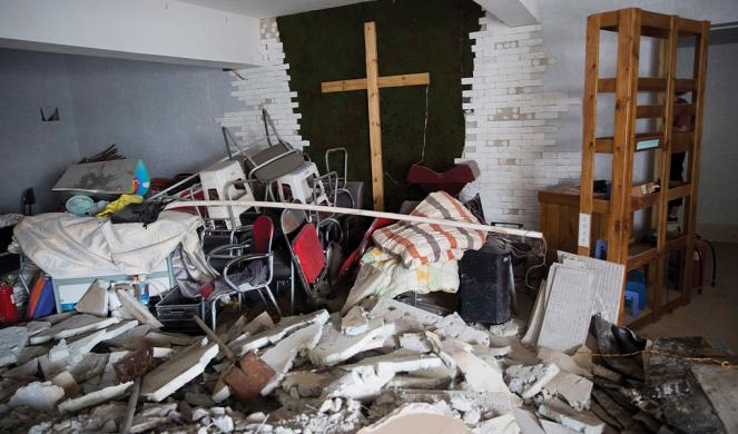 A demolished house church in Zhengzhou, in central China's Henan province.