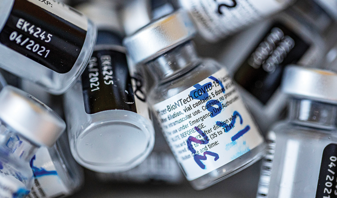 Empty vials that contained the Pfizer-BioNTech COVID-19 vaccine.