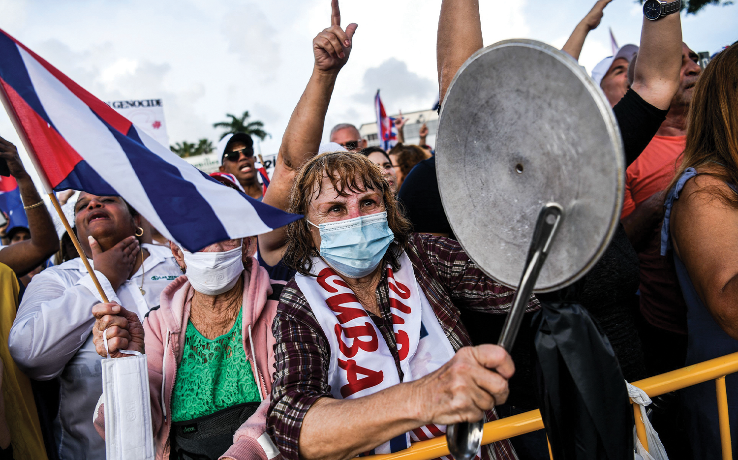 Protesters in Miami show support for Cubans demonstrating in Havana.
