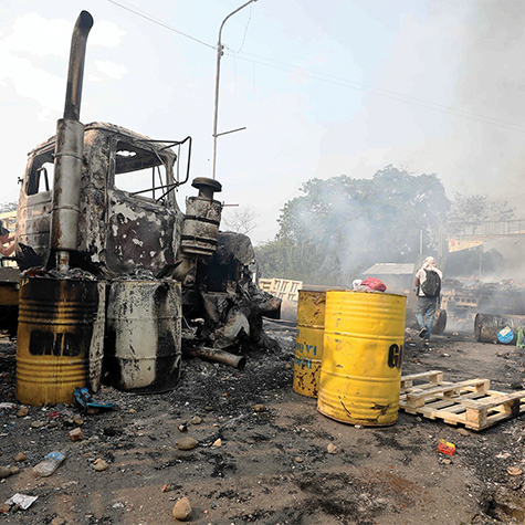 A charred truck that was part of a humanitarian aid convoy attempting to cross into Venezuela.