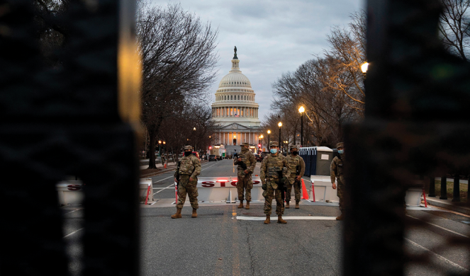 National Guard troops guard the U.S. Capitol on Jan. 13.