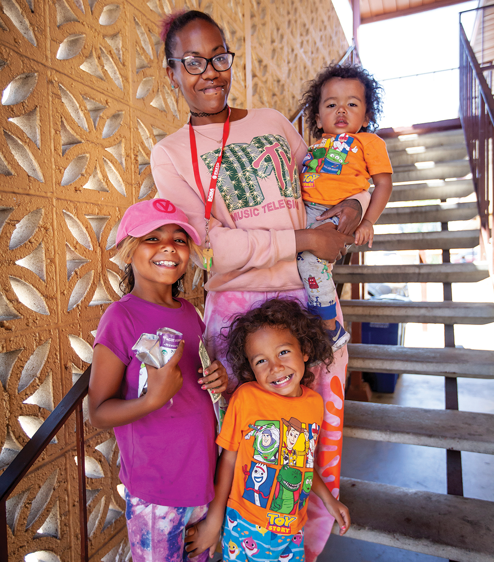 Resident Shawnie Atchison and her family