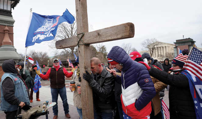 Trump supporters pray and assemble near the U.S. Capitol on Jan. 6.