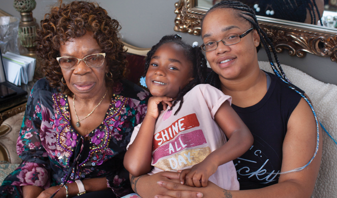 Scott with her 6-year-old daughter, Karley, and her grandmother, Caroline