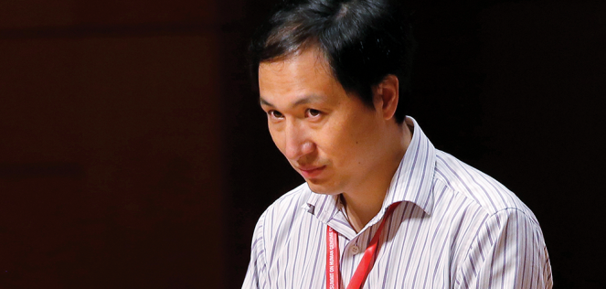 He Jiankui speaks during the Human Genome Editing Conference in Hong Kong.