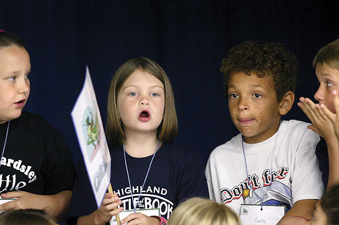 Third-graders from California compete in the Battle of the Books.