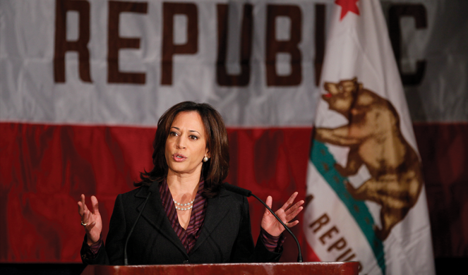 Harris gives her first news conference as California's attorney general on Nov. 30, 2010.