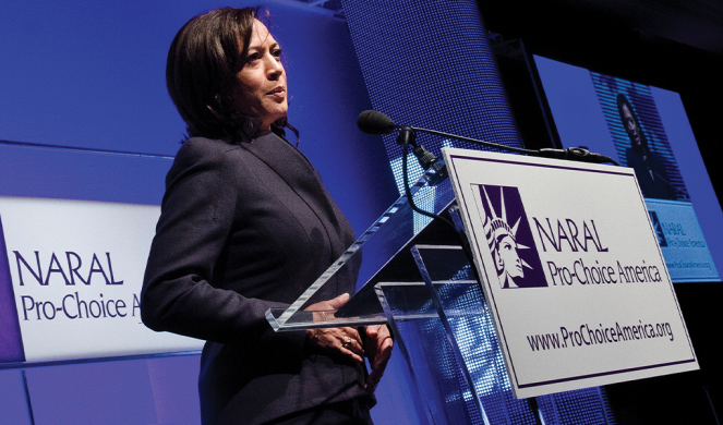Harris speaks during a NARAL Pro-Choice America luncheon commemorating the 38th anniversary of Roe v. Wade in 2011.