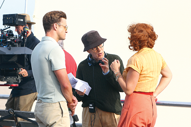 Justin Timberlake, Woody Allen, and Kate Winslet (left to right) on the set of Wonder Wheel.