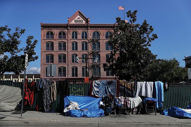 A homeless camp in Los Angeles.