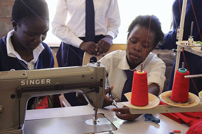 School of Hope students at work in a tailoring/sewing class.