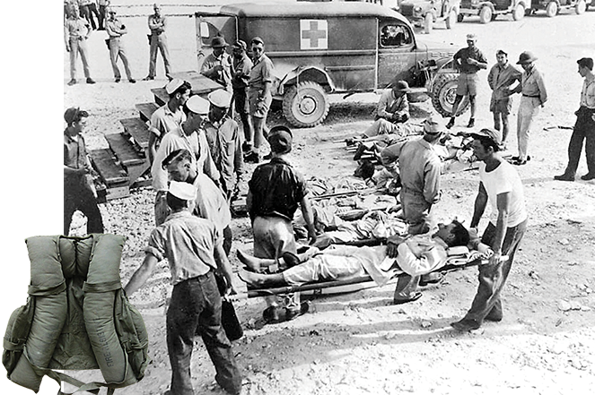 USS 'Indianapolis' survivors recover on Guam in August 1945; a WWII life vest.