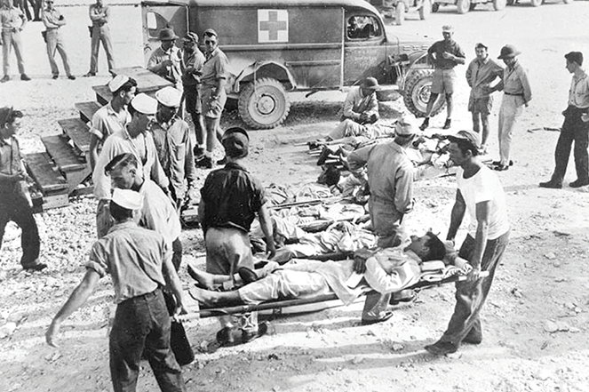 Survivors from the Indianapolis receive care on Guam in August 1945