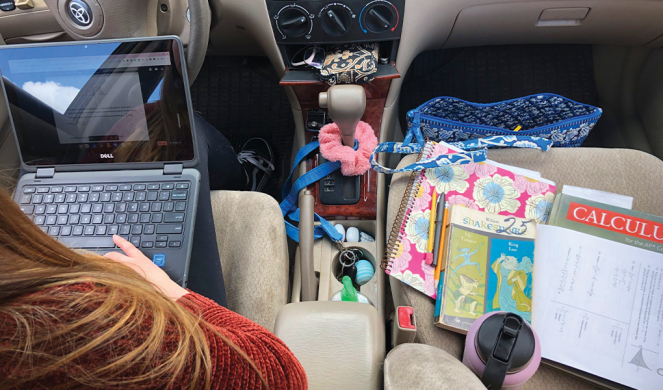 Last spring, high-school senior Natalie Szewczyk spent about three hours a day on most weekdays doing schoolwork in her car in the parking lot of Sanderson Academy in Ashfield, Mass.