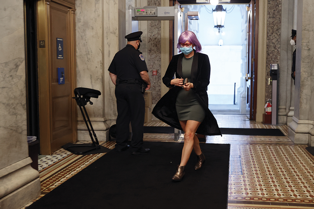 Kyrsten Sinema arrives at the U.S. Capitol for a vote on May 18, 2020.