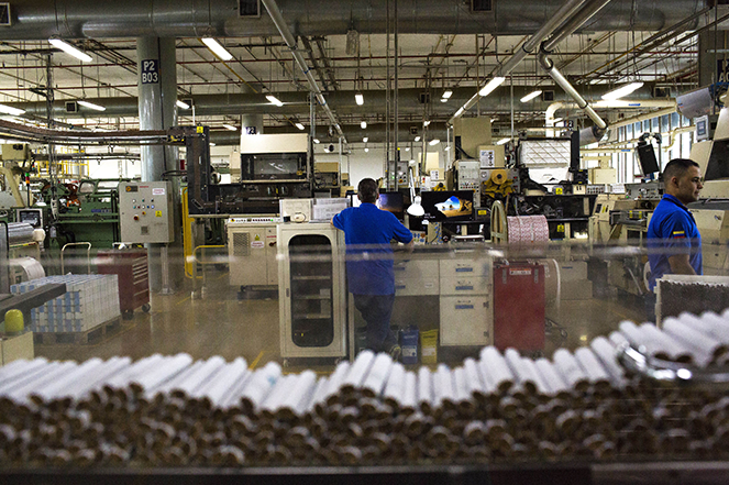 Cigarettes being made at a Philip Morris International production facility in Colombia