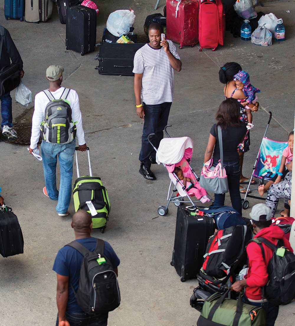 People in the departure wing of the Murtala Mohammed International Airport in Lagos, Nigeria, in March 2020.
