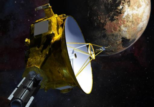 An artist's concept of the New Horizons spacecraft as it approached Pluto in July 2015