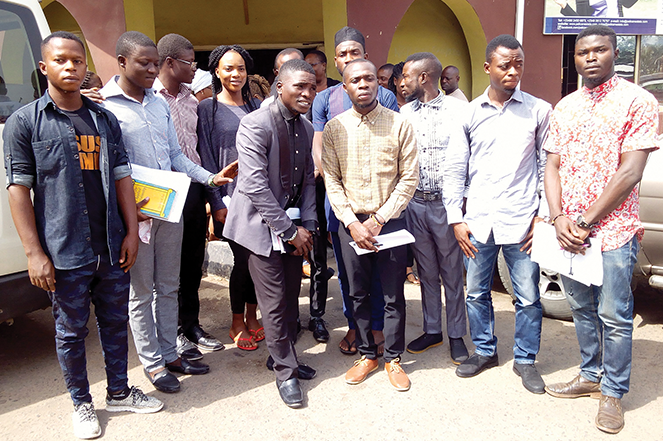 Former Stephens Center students gather after addressing journalists in Abeokuta.