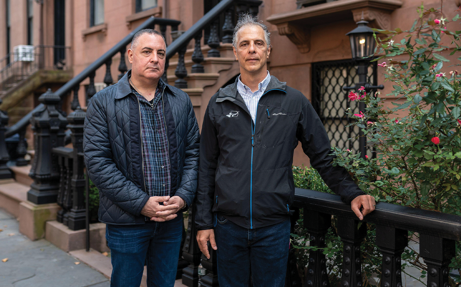 Brothers Peter (left) and Daniel Arbeeny stand in their Brooklyn neighborhood.